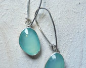 sterling silver gemstone earrings - aqua chalcedony earrings - rose cut - chalcedony jewelry - beach jewelry - made to order