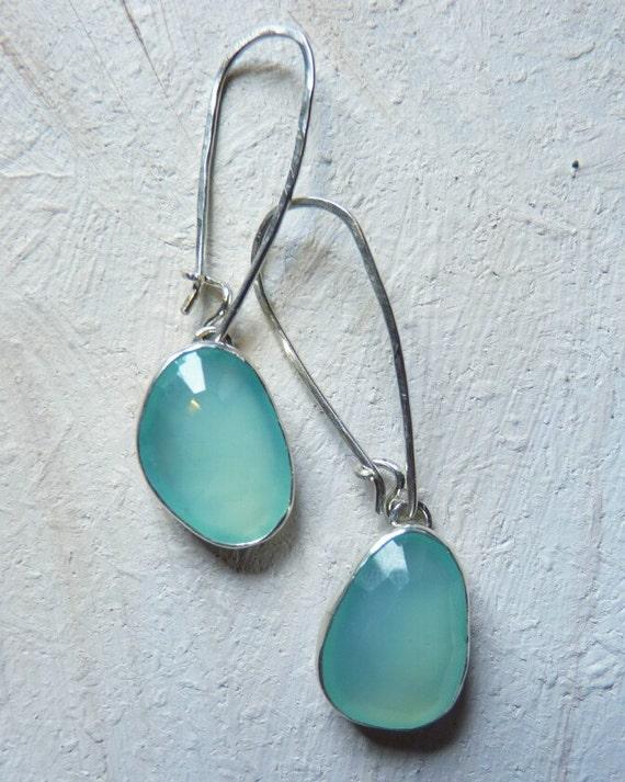 sterling silver gemstone earrings - aqua chalcedony earrings - rose cut - chalcedony jewelry - beach jewelry - made to order