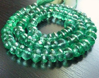 Mysitc Kelly Green Quartz Faceted Rondelles (No. 1420)