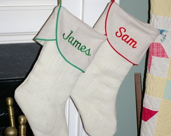 Burlap Christmas Stocking, Personalized
