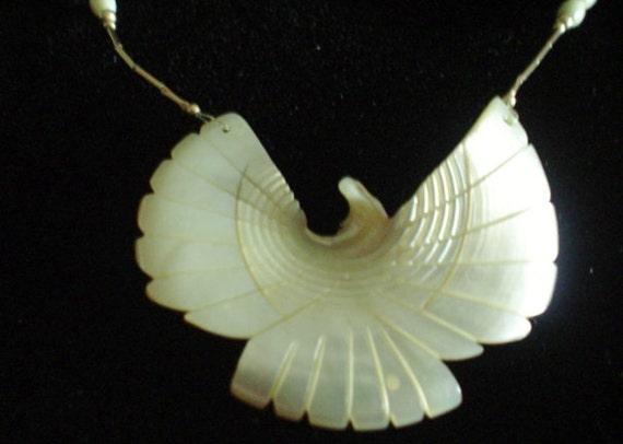 Vintage Rhinestone Necklace - Pearlized Eagle - MOP
