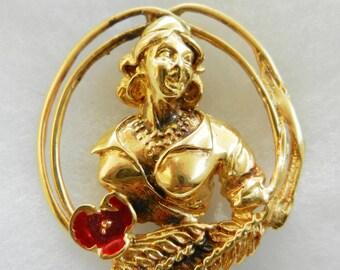 Rare 1960s Italian brooch, sterling silver in 24k gold-plated - brooch rare signed DE CECCO --Art.155 / 2  --