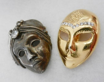 1960s Vintage brooches - Venetian masks - crystal, gold, silver - 2 pieces - Antique  broochs - Art.233/2 --