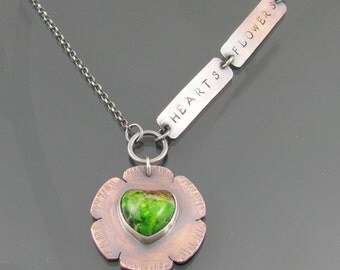 hearts & flowers copper gemstone necklace - variscite necklace - silver necklace - heart - flower