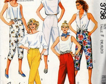 3736 McCall's Vintage Uncut Sewing Pattern 1988 Misses Pants for Stretch Knits Size F 16-18-20