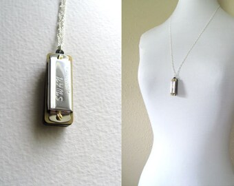 Harmonica pendant necklace on long sterling silver plated chain