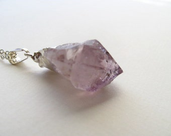 Silver dipped raw amethyst pendant necklace on delicate sterling silver chain