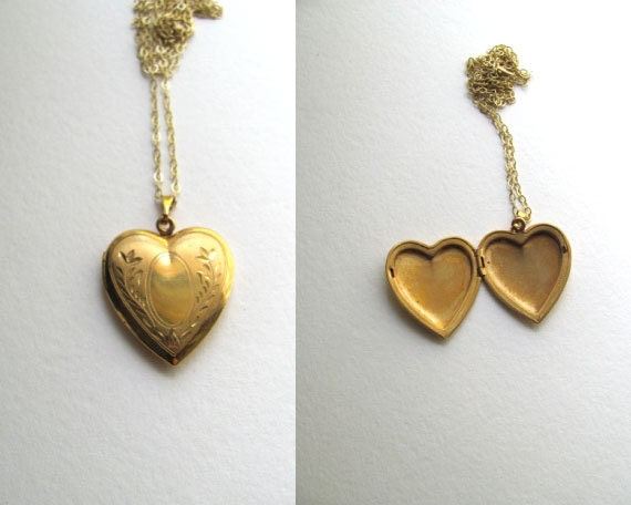 Beautiful gold vintage heart locket on long delicate 14k gold plated chain, Edwardian