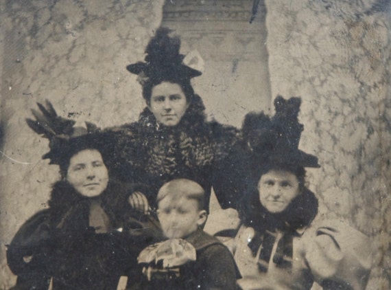 RESERVED for L Tintype: Creepy, Witchy Looking Ladies, Prmitive Halloween Decor