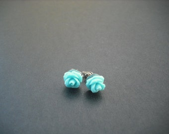 turquoise blue rose post earring