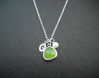 Sterling Silver Chain  - Bridesmaids gift, Wedding Gift, Hand stamped personalized initial necklace - peridot (lime green) bezel glass