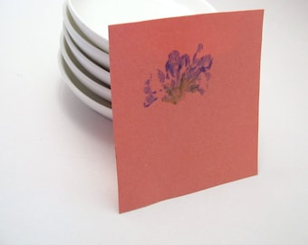 Blue Flower on Pink Paper Notecard: Pounded Flowers