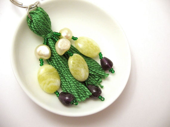 Green and Yellow Pearls and Jade Beaded Tassel Keyring with Amethyst