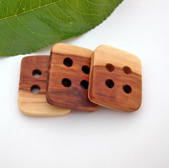 Wood Buttons - 3 Lrg Cherry Tree Buttons for Knitting, Crocheting and Crafts
