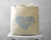 LOVE Languages Tote Bag - Blue Topaz on Natural or Black - Canvas Bag - Carryall Tote - BucktoothedBunny