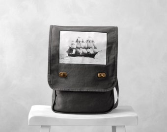 Field Bag / Messenger Bag - The Volage - Vintage Photograph - Smoke Gray Canvas Bag - Historic Ship