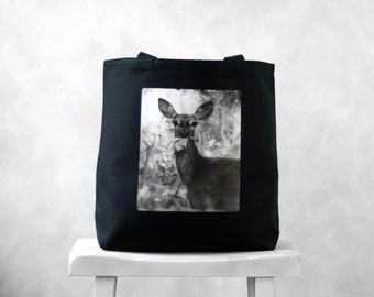 Oh, Deer  - Black or Natural Canvas Bag - Carryall Tote - School Bag - Woodland