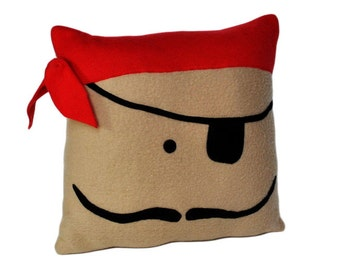 Pirate PillowAppliqued Fleece Mustache and Eye Patch