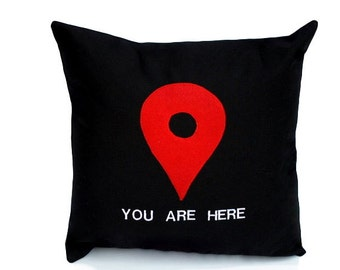 You Are Here Map Pin Black Pillow