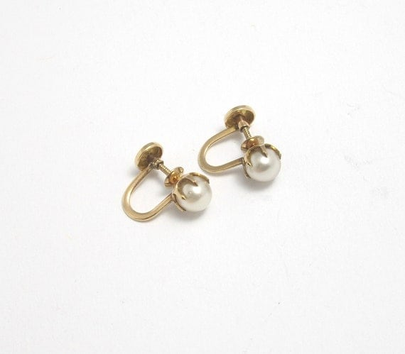 Vintage 10k Gold Pearl Earrings, 10k Gold Earrings