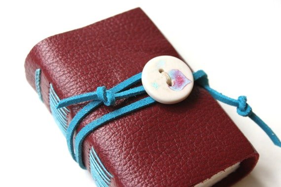 Wee Chunky Book - Handmade Porcelain Button - Ruby Red Leather