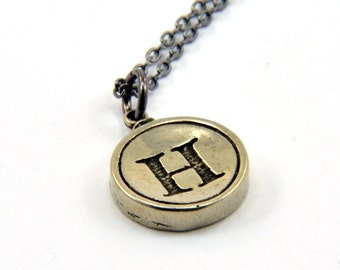 Letter H Charm Necklace - White Bronze Initial Typewriter Key Charm Necklace - Gwen Delicious Jewelry Design GDJ