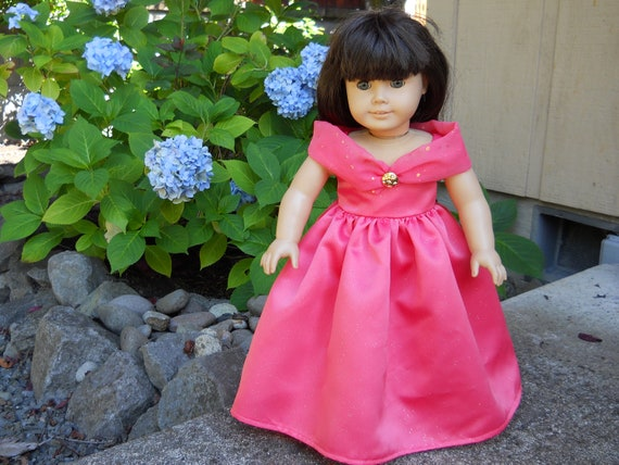 American Girl doll clothes , 18 inch doll clothes - Pink Salmon Party Dress