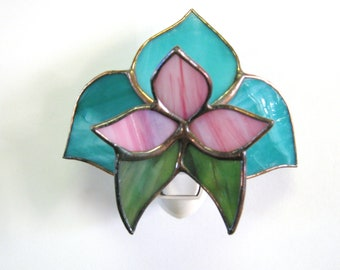 Handmade Stained Glass 3D Aqua Floral Night Light