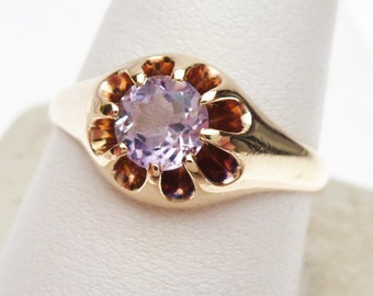 14k Pink Synthetic Stone Belcher Style Ring