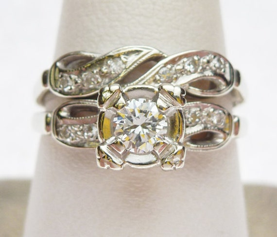 14kt Center 21 pt  and Sides 10 pt Diamond Wedding Set 1960s