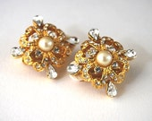 SALE-Gorgeous Vintage Gold tone,Clear Rhinestone and Pearl, Bridal Jewelry, Earrings