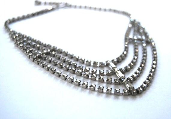 Vintage Art Deco Clear Rhinestone, Festoon, Collar, Choker Necklace