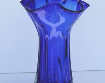 Vintage Modernist Colbalt Blue Free Form Rim Sommerso Glass Vase