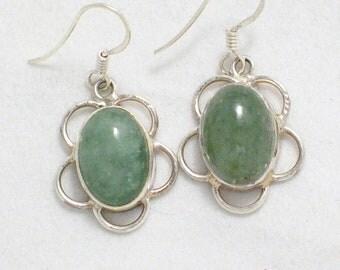 gemstone dangle earrings 925 sterling silver light green aventurine dangle drop chandelier french wire hook w/ flower type design