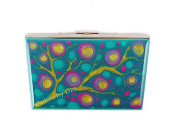 Accordion Wallet with Credit Card Organizer Hand Painted Enamel Fuchsia and Turquoise Blossom Inspired Custom Colors and Personalized Option