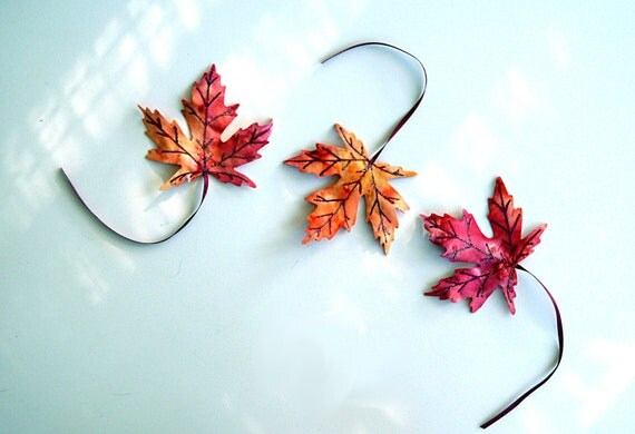 Three Fall Fabric Maple Leaves Bookmarks Decor