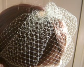 """9"""" Rhinestone and Pearl Bridal Birdcage Veil French Russian Netting Wedding in Gray"""