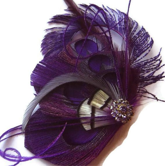 LILAC Purple Peacock Feather Bridal Hair Fascinator Clip with Vintage Jewel OOAK