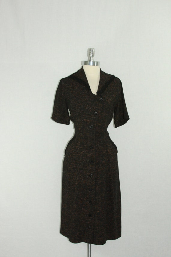 1940s Dress - Vintage Flecked Brown and Black Asymmetric Bodice Button Front Dress