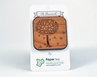 Wooden Laser Cut Blossom Tree Brooch