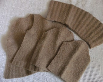 Felted Wool Sweater Remnants Tan Beige Recycled Fabric Material