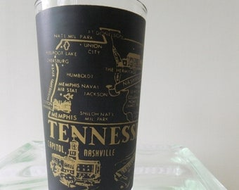 Vintage Glass Tennessee State Souvenir Tumbler Black Frosted with Gold Lettering Road Trip Vacation Travel Retro