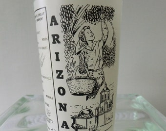 Vintage Glass Arizona State Souvenir Tumbler White with Black Lettering Vacation Travel Road Trip Retro