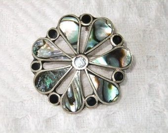 Vintage Brooch Pin or Pendant Alpaca Mexico Abalone Shell Silver Stamped
