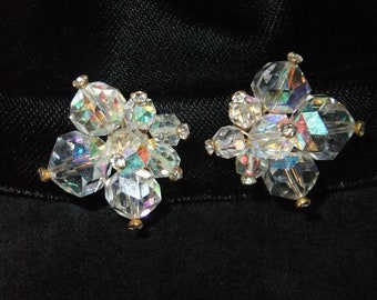 Vintage Earrings Screw Back Laguna Aurora Borealis Clear Crystal Gold Tone Costume Jewelry Stamped