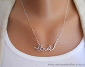 Cursive Love Necklace in Silver - Perfect Gift - Dainty Love Pendant - Wedding Jewelry - Bridal Jewelry - Simple Everyday