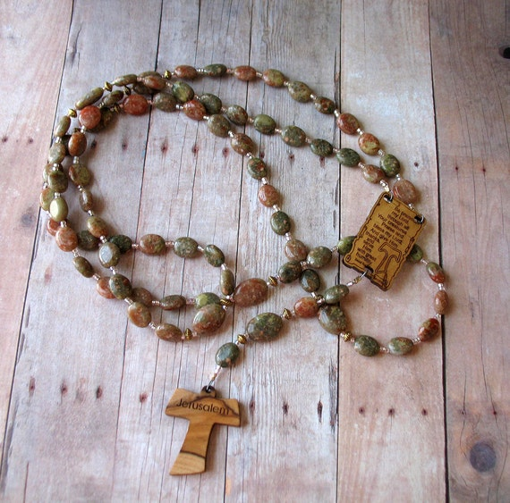 Franciscan Crown Rosary in Autumn Jasper, with Wooden Tau Cross and Canticle of the Sun
