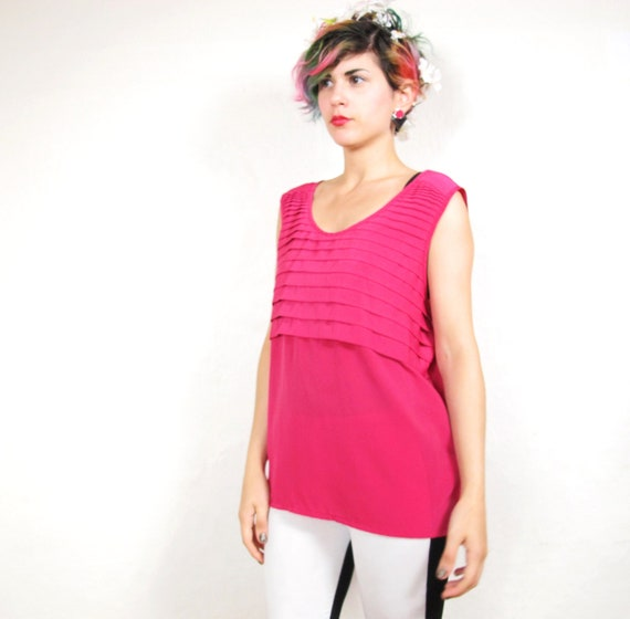 80s Pleated Hot Pink Tank Top  (M/L)