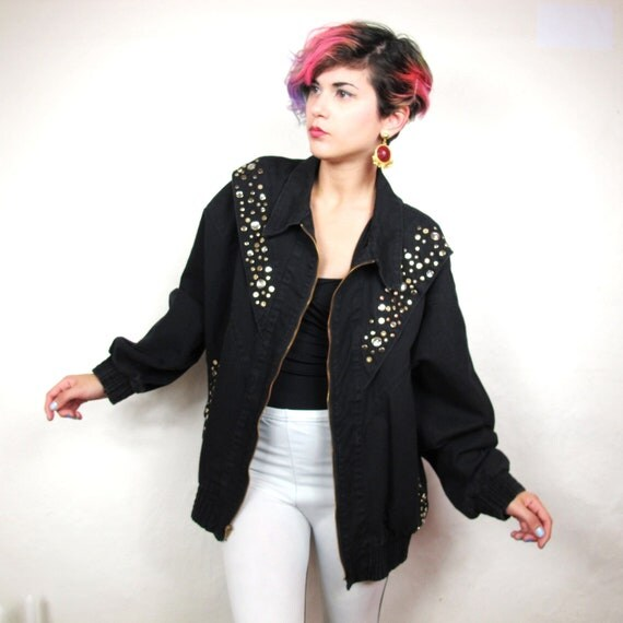 80s Bedazzled and Studded Black Denim Bomber Style Jacket (M)