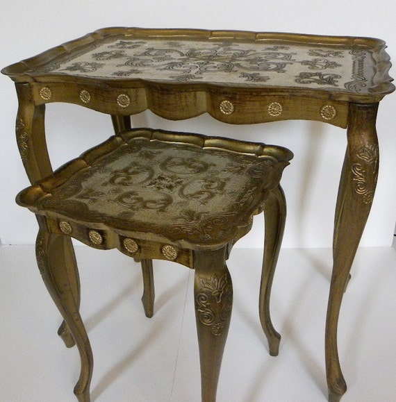 Vintage Italian Nesting Tables Set Of Two Florentine Gold